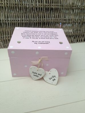 Shabby Personalised Chic Bridesmaid Sister Maid Of Honour Wedding Trinket Box